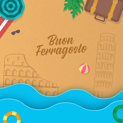 Buon Ferragosto Font With Sketching Italy Monument, Top View Of Beach View And Paper Cut Waves On Brown Background.