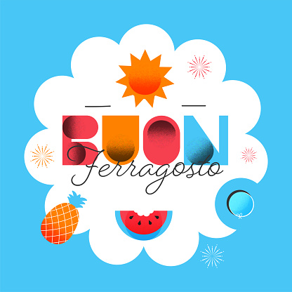 Buon Ferragosto Font With Sunny, Fruits And Lifebuoy On Blue And White Background.