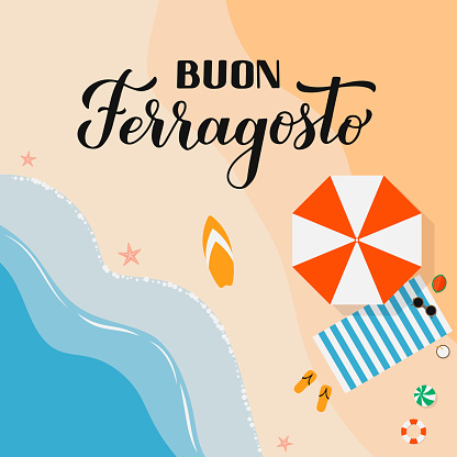 Buon Ferragosto - Happy August Festival in Italian. Traditional summer holiday in Italy. Vector background for typography poster, banner, invitation, card, sticker