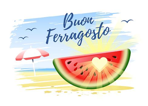 Buon Ferragosto. Happy Summer Holidays in Italian. Italian summer holidays concept. Vector illustration.
