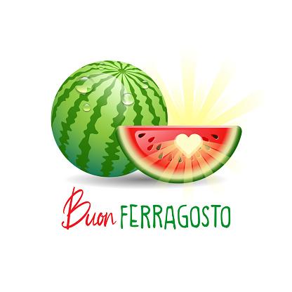 Buon Ferragosto. Happy Summer Holidays in Italian. Summer holidays concept. Vector illustration.