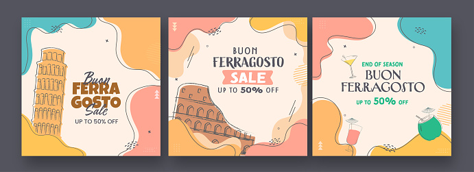 Buon Ferragosto Sale Poster Or Template Design With 50% Discount Offer In Three Options.