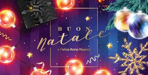 Buon Natale 105.Buon Natale E Felice Anno Nuovo Vector Card Merry Christmas And