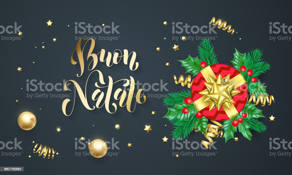 Buon natale italian merry christmas holiday golden calligraphy and buon natale italian merry christmas holiday golden calligraphy and gold decoration greeting card template vector m4hsunfo
