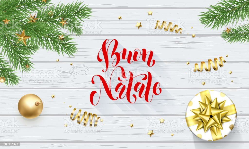 buon natale italian merry christmas holiday golden decoration and calligraphy font for greeting card white wooden