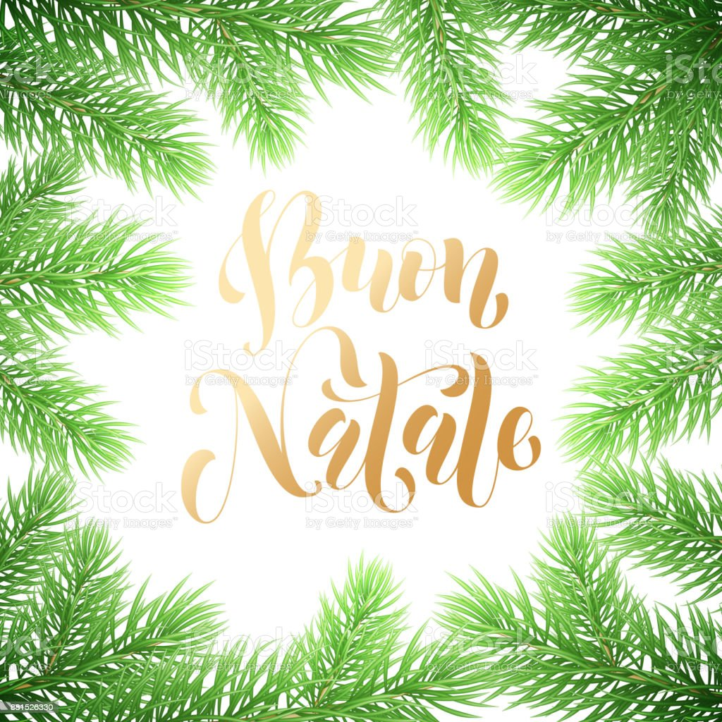 buon natale italian merry christmas holiday golden hand drawn calligraphy text for greeting card of wreath