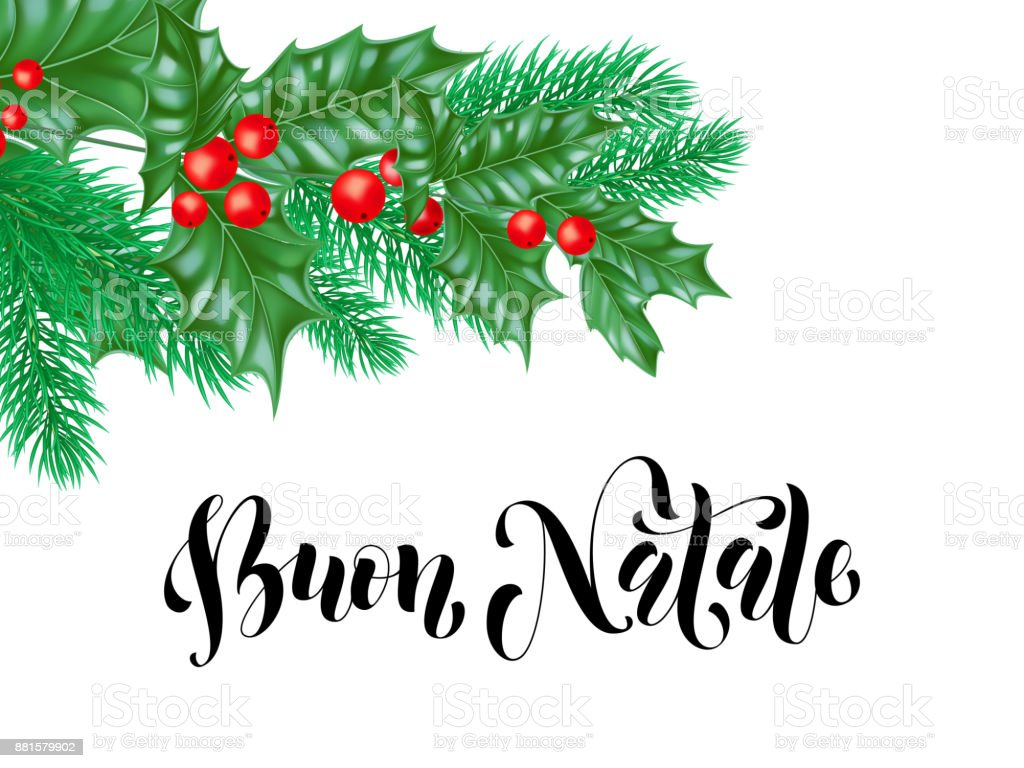 Buon Natale Italian Merry Christmas Holiday Hand Drawn Calligraphy ...