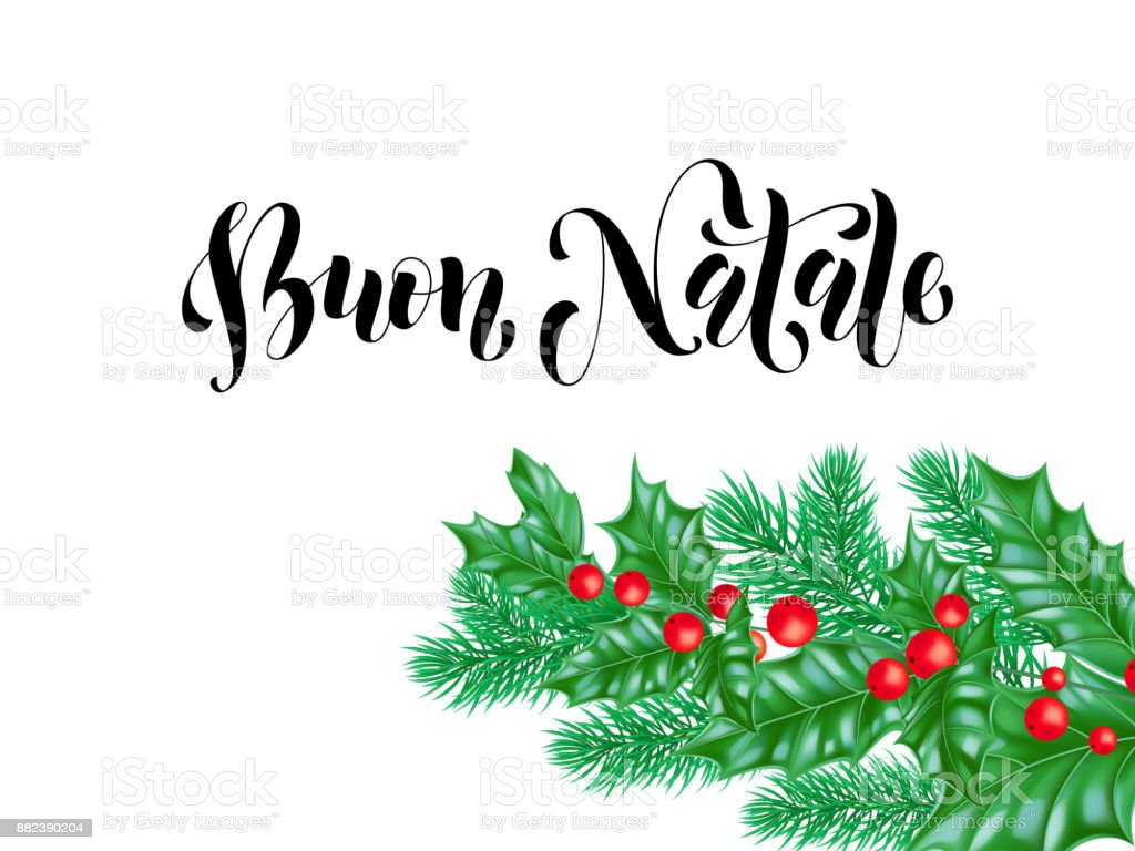 Buon Natale Italian Merry Christmas Holiday Hand Drawn Quote ...