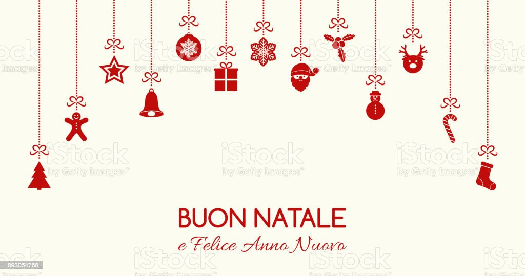 buon natale merry christmas in italian concept of christmas card with decoration vector