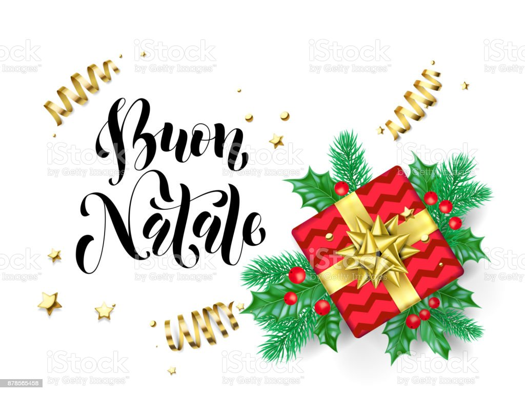 Buon Natale Merry Christmas Italian Holiday Hand Drawn Quote