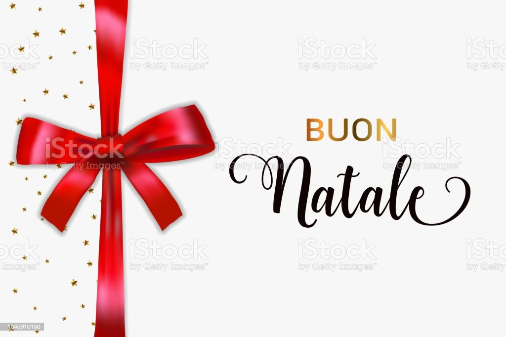 buon natale merry christmas italian typography christmas vector card with blue realistic bow and golden - Merry Christmas Italian