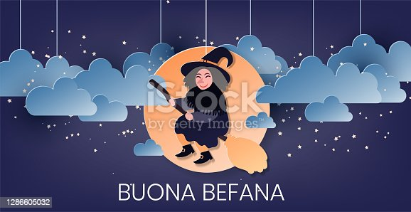 istock Buona Befana translation: Happy Epiphany greeting card template with handwritten lettering, old witch flying on a broom in the night to bring presents. Hand drawn flat vector illustration. 1286605032