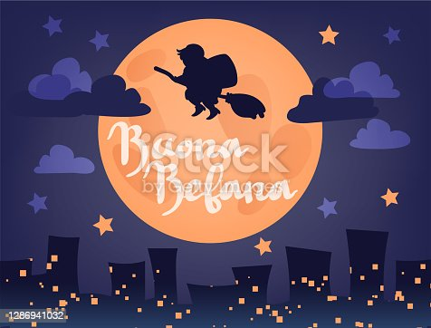istock Buona Befana translation: Happy Epiphany greeting card template with handwritten lettering, old witch flying on a broom in the night to bring presents. Hand drawn flat vector illustration. 1286941032