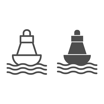 Buoy line and solid icon, nautical concept, Sea buoy floating on waves sign on white background, nautical direction buoy icon in outline style for mobile concept and web design. Vector graphics