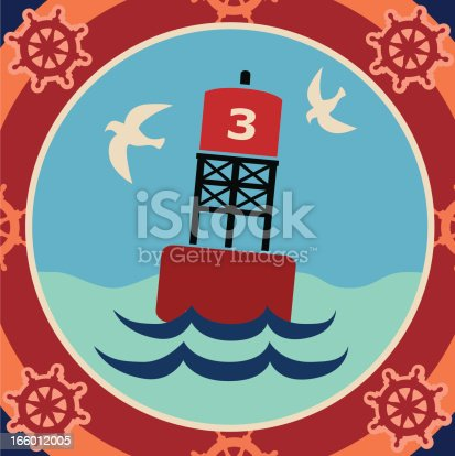 A vector illustration of a buoy in a red decorative frame.