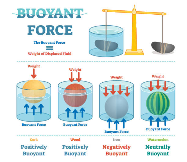 Buoyant force, illustrative educational physics diagram. Buoyant force, illustrative educational physics diagram poster. floating on water stock illustrations