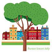 Vector Burano houses italy