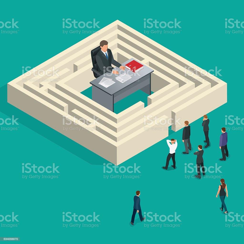 Bureaucrat in the maze vector art illustration