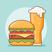 Burger and beer glass flat line icon. Fast food vector illustration.