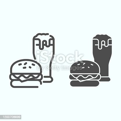 istock Burger and beer line and solid icon. Fast-food with drink vector illustration isolated on white. Burger and glass of beer outline style design, designed for web and app. Eps 10. 1200708699