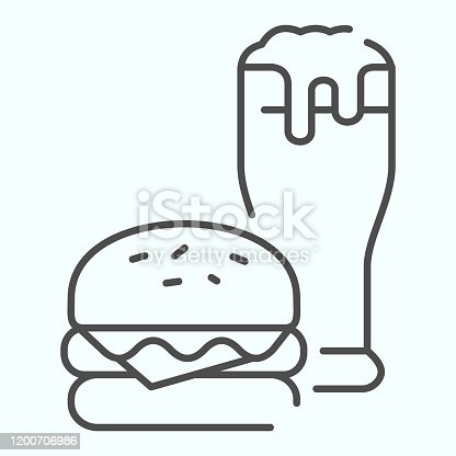 istock Burger and beer thin line icon. Fast-food with drink vector illustration isolated on white. Burger and glass of beer outline style design, designed for web and app. Eps 10. 1200706986