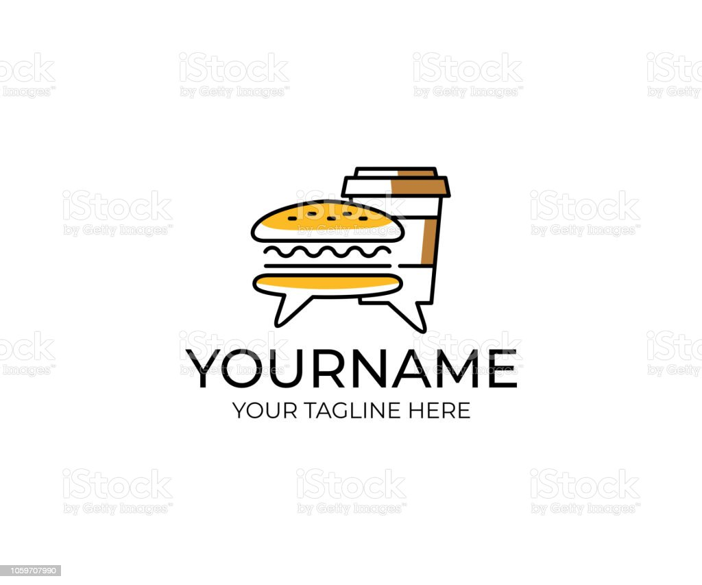 burger and coffee in a paper cup with comments logo design review