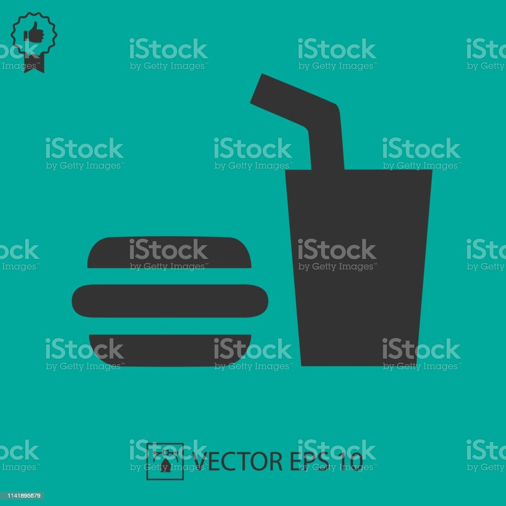 Burger and drink vector icon eps 10. Fast food symbol.