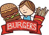 Burger and fries menu cartoon design element.