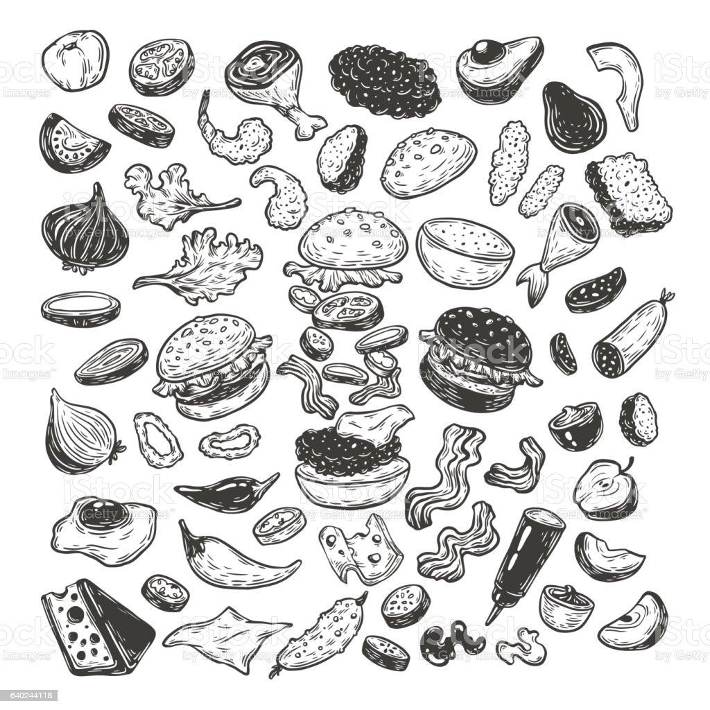 Burger and ingredients, Set. vector art illustration