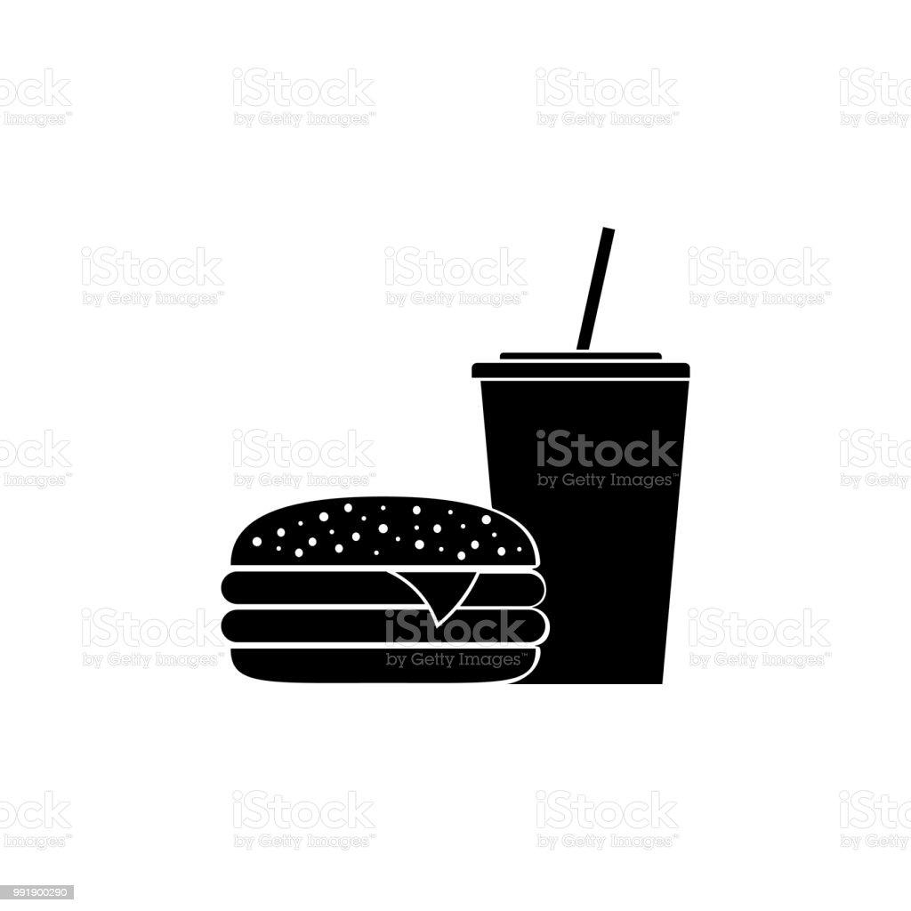burger and Soda, Fast Food, icon  - Illustration vector art illustration
