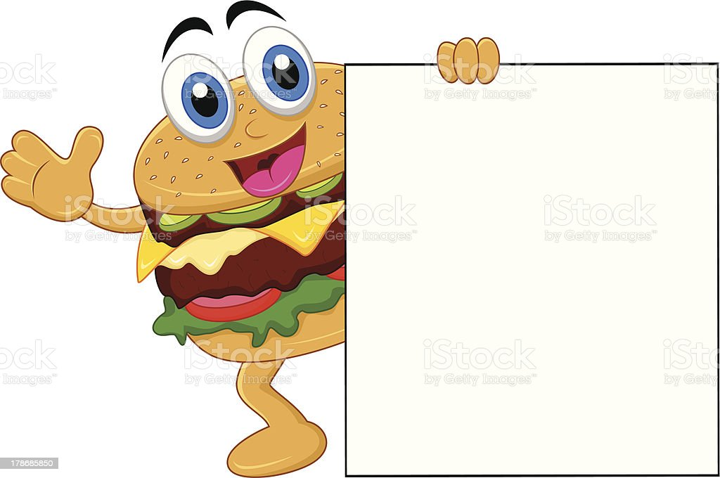 burger cartoon characters with blank sign royalty-free stock vector art
