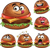 Cartoon burger set of 6 different expressions: