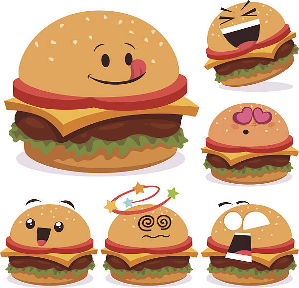 Burger Cartoon Set A vector art illustration