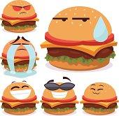 Cartoon burger set of 6 including: