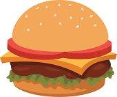 A vector cartoon of a burger