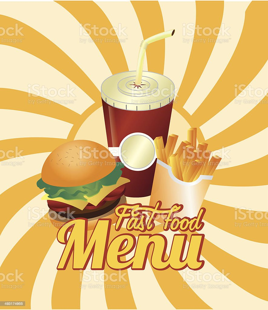 burger combo with french fries and soda royalty-free stock vector art
