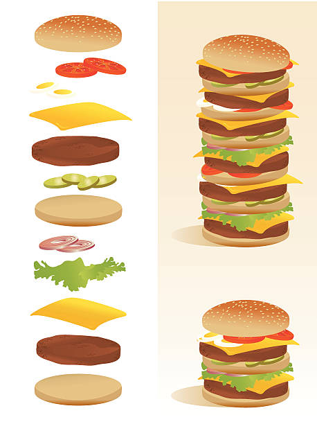 burger deconstruction - all ingredients separated - burgers stock illustrations, clip art, cartoons, & icons