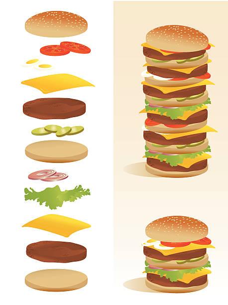 illustrazioni stock, clip art, cartoni animati e icone di tendenza di hamburger decostruzione-tutti gli ingredienti separati - hamburger