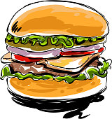drawing of Burger, Elements are grouped.contains eps10 and high resolution jpeg.