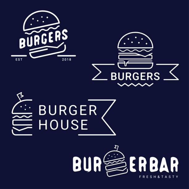 illustrazioni stock, clip art, cartoni animati e icone di tendenza di burger, fast food icon, emblem. outline design. - hamburger
