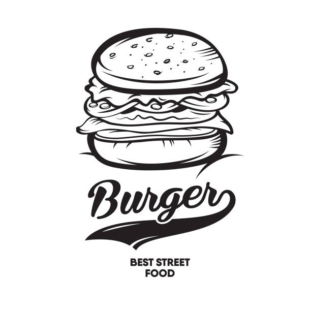 burger fast food. logotype - cheeseburger stock illustrations