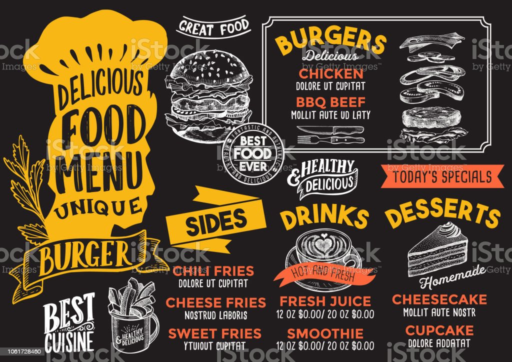Burger Food Menu Template For Restaurant With Chefs Hat Lettering Royalty Free