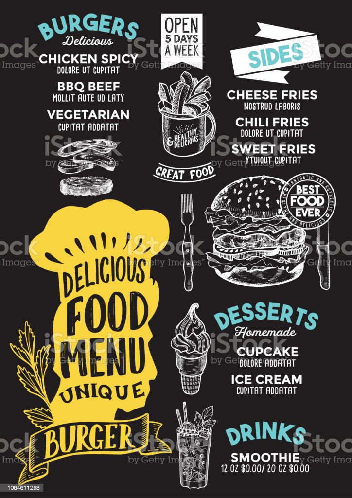 Burger Food Menu Template For Restaurant With Chefs Hat Lettering