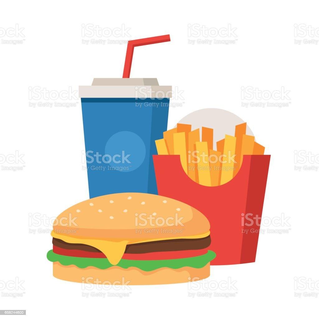 Hambúrguer, batatas fritas e refrigerante - ilustração de arte em vetor