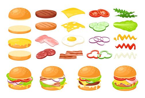 Burger fresh food ingredient set, cartoon fastfood cafe hamburger maker collection