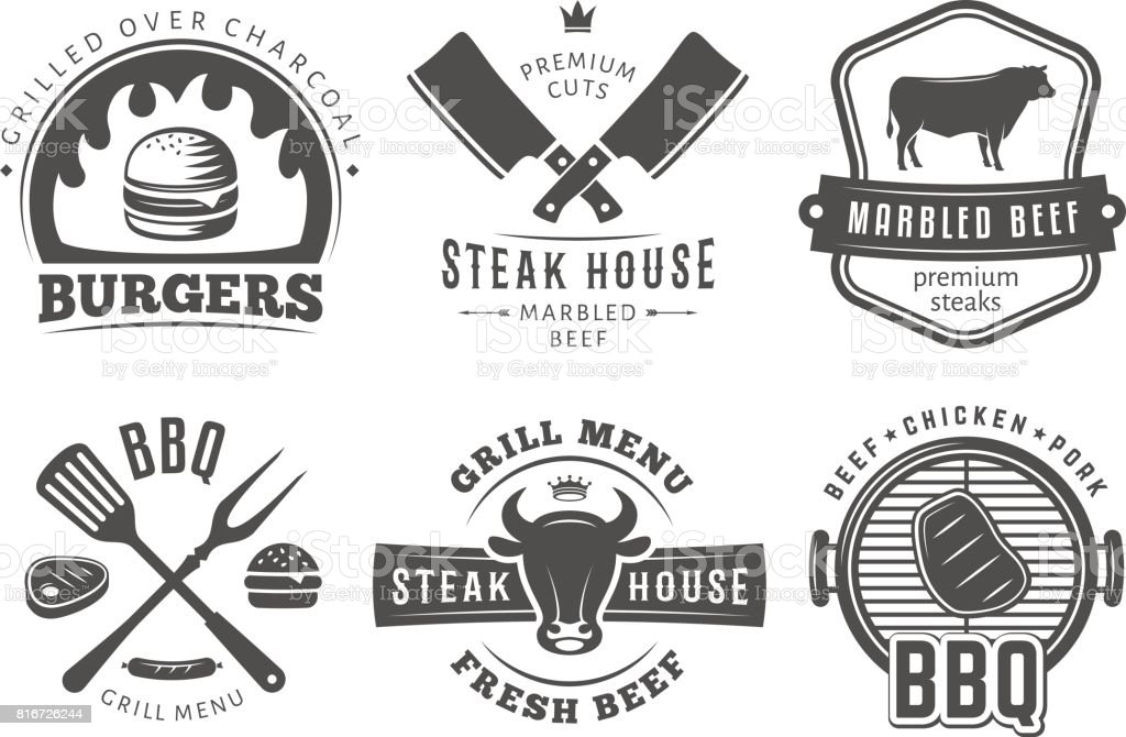 Barbecue, burger, insignes de gril. - Illustration vectorielle