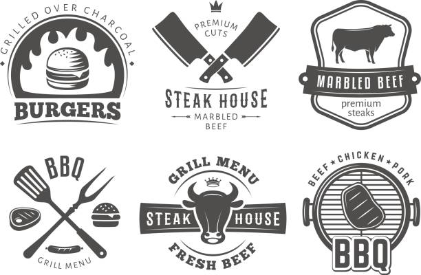 BBQ, burger, grill badges. vector art illustration