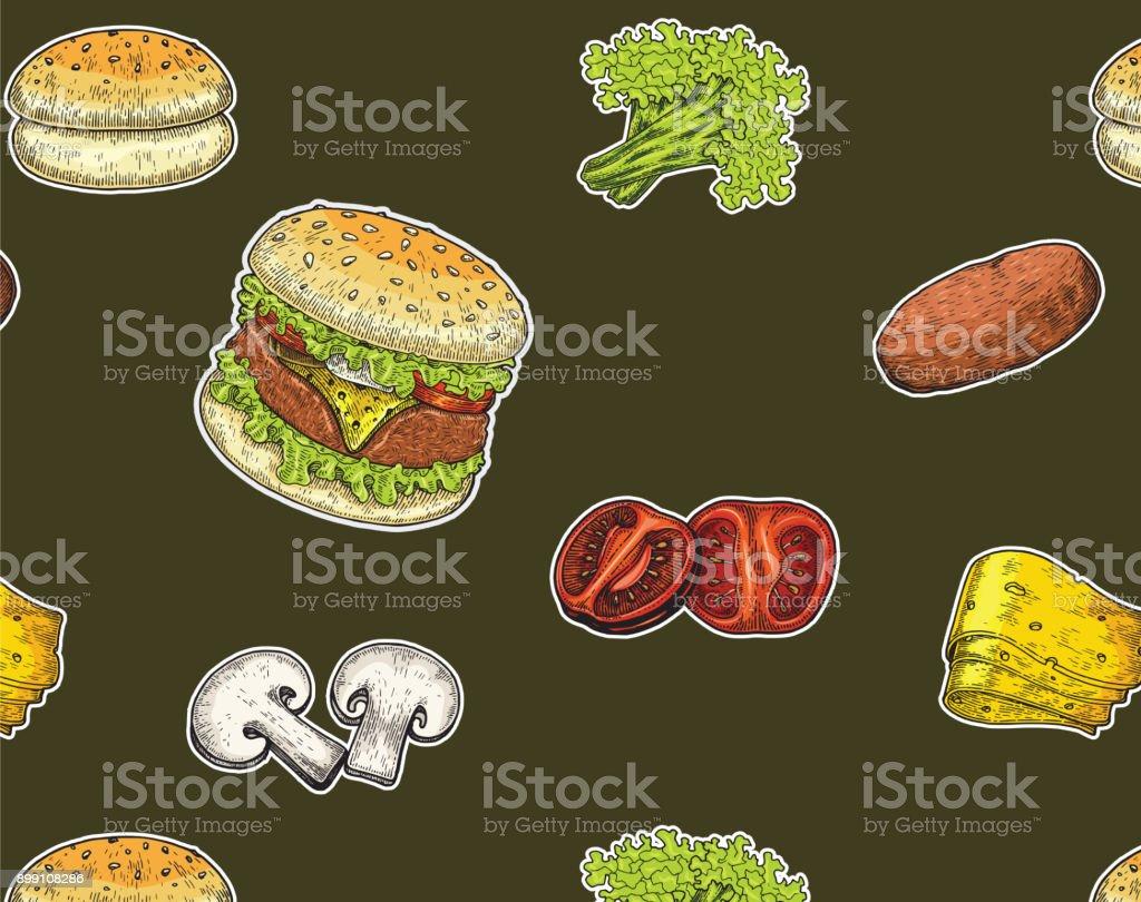 Burger El çizimi Vintage Tarzı Burger Bileşenleri Burger Renk Boyama