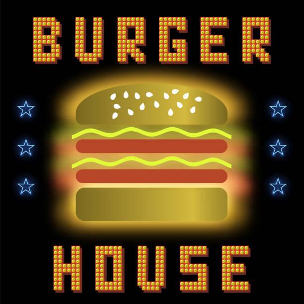 Burger House Neon Colorful Sign on Black Background. Fast Food Sign. vector art illustration