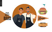Burger house -small business graphics - about company icon and some food -modern flat vector concept illustrations -web icon with two owners posing together, cheeseburger, french fries, branded flag